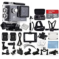 4K Ultra HD DV 12MP 1080p 60fps Sports Action Camera (Black) - Wi-Fi + 170° Wide Angle Lens + Waterproof Case & Clip + Chest & Head Strap + Bike Bracket + Micro 32GB SD Card + Monopod + Accessories