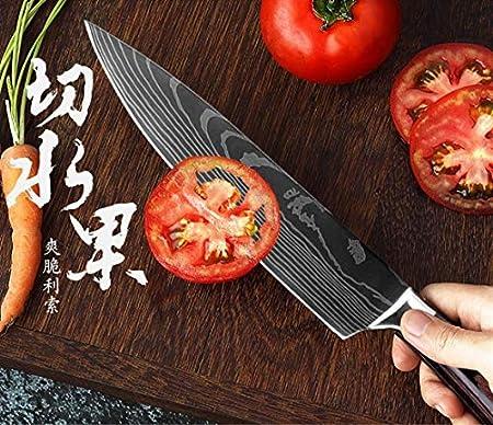 """SDFY Cuchillo de Cocina de 8"""" Pulgadas Modelo japonés Cuchillos de Cocina láser Damasco Chef Santoku Cuchillo Afilado Cleaver rebanar Cuchillos Herramienta EDC Afilado (Color : 8 PCS Value Set)"""