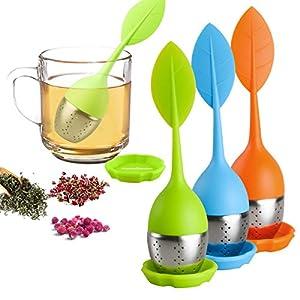 Loose Leaf Tea Infuser - Silicone Handle Tea Infuser Stainless Steel Strainer for Tea Pot, Mug - Loose Tea Steeper - Tea Diffuser for Loose Tea, Fennel Tea, Herbal Tea 3 Set - Green/Blue/Orange
