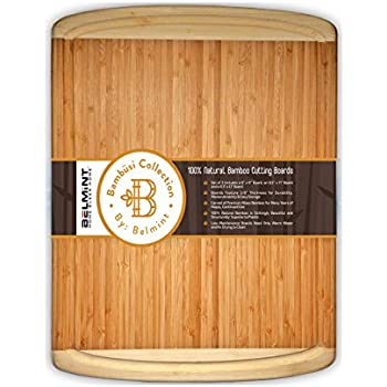 """Large Cutting Board Organic Bamboo Chopping Board With Juice Grooves. Wood Serving Tray. Best For Chopping Meat, Bread, and Veggie, (Wide and Thick 18""""x12"""") - By: Bambüsi"""