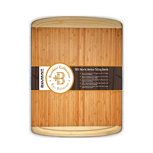 Chopping Board Made of Natural Bamboo, large Cutting Board (Wide and Thick 18x12) With Juice Grooves, Best For Chopping Meat, Bread, and Veggie, Serving Tray. Designed By Bambusi - Meat Warmer