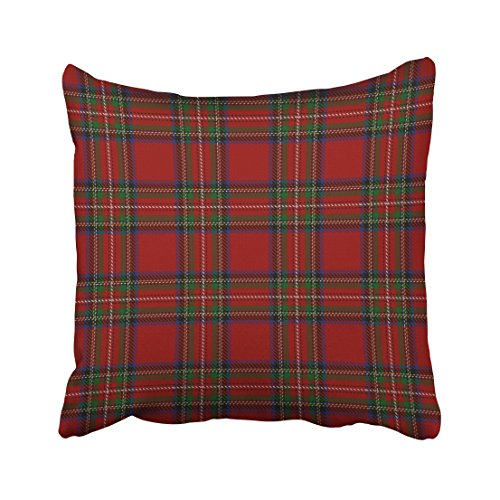 Emvency Throw Pillow Covers Scottish Clan Stewart Red Tartan Pillowcases Polyester 18 X 18 Inch Square With Hidden Zipper Home Sofa Cushion Decorative (Tartan Pillow)