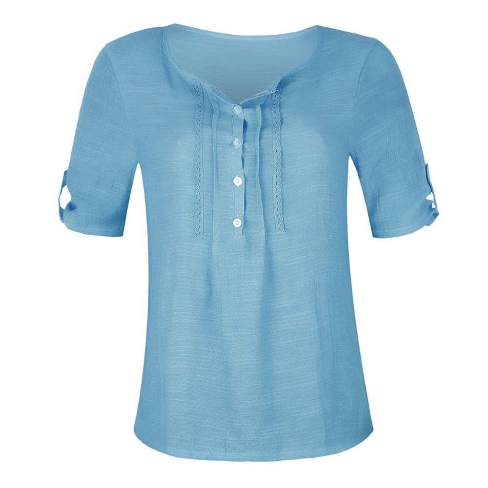 iLOOSKR Summer Chiffon Button-Down Shirts Women's Solid Color Vest Blouse Tee Tops(Blue,XXXXXL)