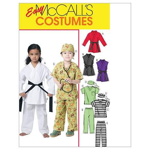 McCall's M6184 Easy to Sew Children's Karate, Ninja, Doctor, and Prisoner Halloween Costume Sewing Pattern, Sizes 6-8 -
