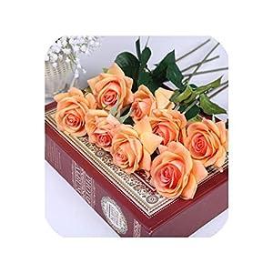 11 Heads Real Touch Latex Flowers Artificial Rose Flowers Bouquet Flores artificiais for Wedding Decoration Party Home Decor,Orange 78