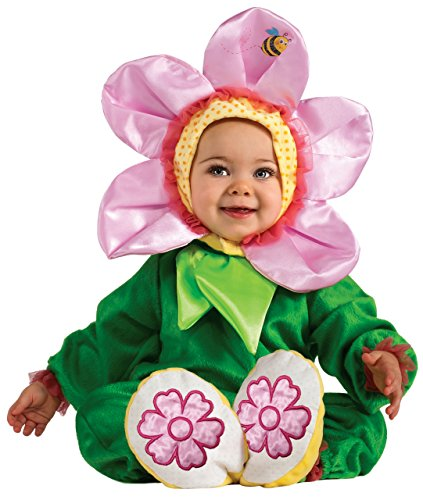 Pink Flower Toddler Costumes (Rubie's Costume Cuddly Jungle Pink Pansy Romper Costume, Green, 6-12 Months)