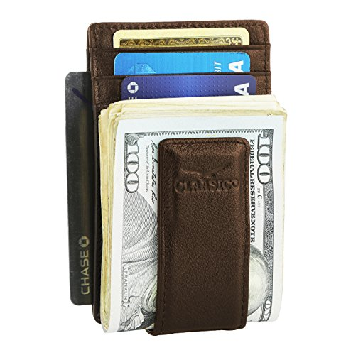 Money Clip Leather Wallet For Men Slim Front Pocket RFID Blocking Card Holder With Super Strong Magnetic (Brown)