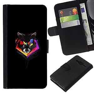 NEECELL GIFT forCITY // Billetera de cuero Caso Cubierta de protección Carcasa / Leather Wallet Case for Samsung Galaxy Core Prime // Geometría del arco iris del lobo