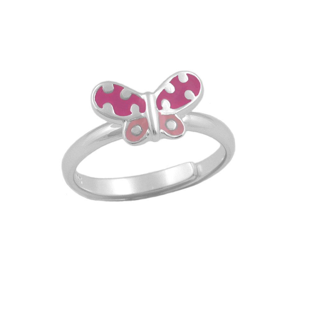 Sterling Silver Pink Butterfly Ring For Girls Adjustable Size 3-7