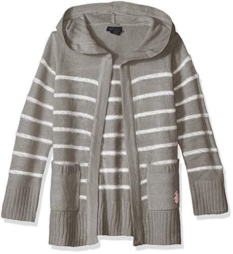 (U.S. Polo Assn. Girls' Big Cardigan Sweater, Striped Hooded Light Grey, 14/16)
