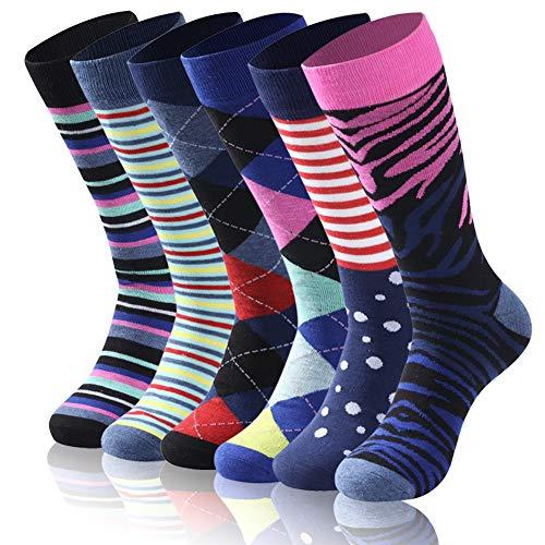 Diwollsam Mens Dress Socks Colorful, Summer Unisex Breathable Comfy Cool Stylish Fun Pattern Elite Casual Wedding Fitness Crew Dress Socks, 6 Pairs(Assorted Mix, L)
