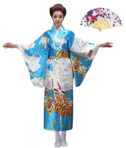 Geisha Outfit (CRB CRB Womens Ladies Kimono Japanese Asian Top Dress Robe Sash Belt Outfit (Extra Small, Blue))
