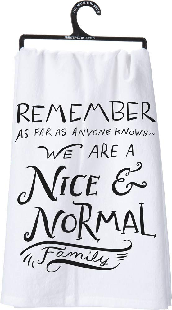 """Primitives by Kathy LOL Made You Smile Dish Towel 28"""" by 28"""" Nice and Normal Family"""