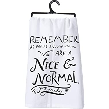 Primitives by Kathy LOL Made You Smile Dish Towel, 28  by 28 , Nice and Normal Family