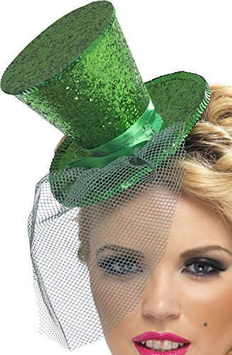 Green Witch Costume Uk (Fever Women's Mini Top Hat on Headband, Green One Size, 21196)