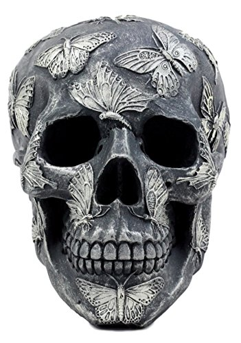 Ebros Gift French Papillon Tattoo Butterfly Skull Figurine 6.75
