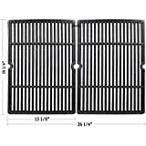 Hisencn CG6652 Replacement Matte Porcelain coated Cast Iron Cooking Grid Grate Set of 2 for Select Gas Grill Models By Char-Broil, Coleman, Kenmore, Thermos, Uniflame, Master and Others