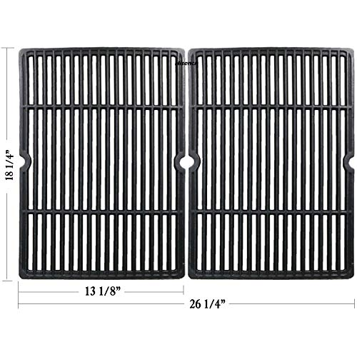 Hisencn Replacement Matte Porcelain Coated Cast Iron Cooking Grid Grate Set of 2 for Select Gas Grill Models by Char-Broil, Coleman, Kenmore, Thermos, Uniflame, Master and Others