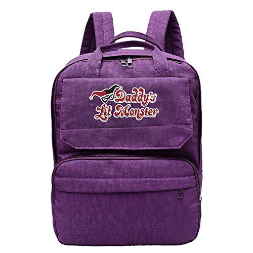 Women Daddy's Lil Monster Harley Quinn Logo Girls Oxford Students Backpack Rucksack School Bag Travel Outdoor Backpack