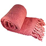 """BOON Knitted Tweed Throw Couch Cover Blanket, 50"""" x 60"""", Strawberry Ice"""