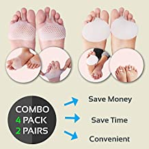 Metatarsal Pads - Ball of Foot Cushions by LUNODA Combo 2 Pairs (4pcs) - Forefoot Insoles for Metatarsal Support and Foot Pain Relief - Prevent Calluses and Blisters For Men and Women