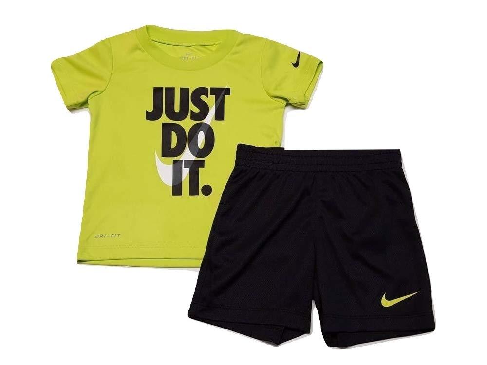 Nike Boy`s Dri-Fit T-Shirt & Shorts 2 Piece Set (Black w Cyber(66F026-KY2),12 Months)