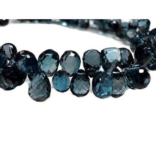 (4 Inch Strand, 43 Pcs, London Blue Topaz Faceted Briolette Beads, Blue Topaz Tear Drop Beads, 6x8mm Each,)