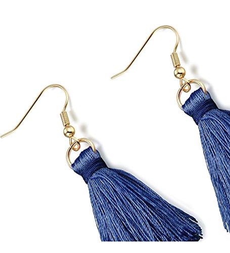 LOLIAS 3 Pairs Long Thread Tassel Earrings Set for Women Girls Beaded Fringe Tassel Earrings Gradient,Blue by LOLIAS (Image #3)