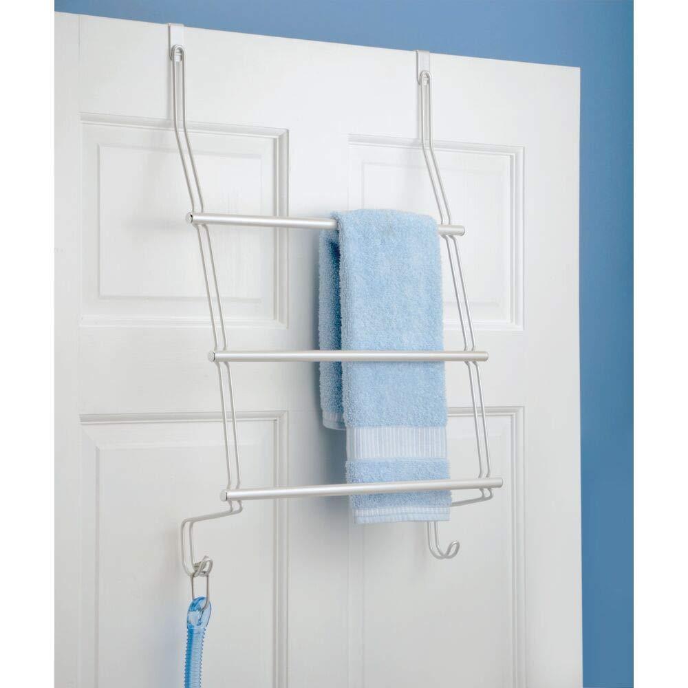 Portatoallas para cocina o ba/ño en metal resistente mDesign Toallero colgante para puerta o armario Soporte porta toallas de mano para puerta toallones o ropa Colocaci/ón sin taladrar