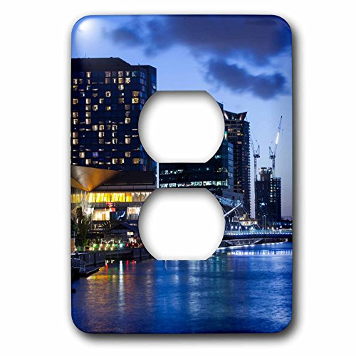 Danita Delimont - Australia - Australia, Melbourne, South Wharf, Bridge over the Yarra River, dusk - Light Switch Covers - 2 plug outlet cover - Melbourne Wharf