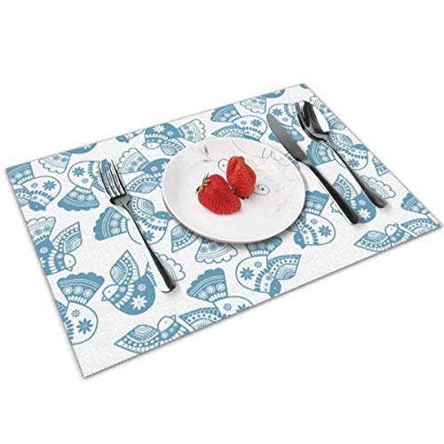 chang jin you Placemats Set of 4,Set Oiseaux Serigraph Heat-Resistant Placemats Washable Table Mats for Kitchen Dining Table