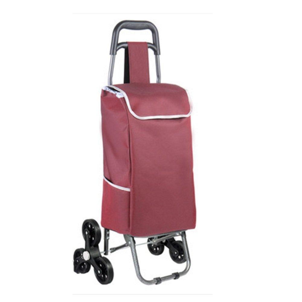 ZR-ショッピングカート 軽量折りたたみショッピングカート2輪(青、紫、赤、ポルカドット)93 * 34 * 18cm -ショッピングと持ち運び (色 : Red) B07FMD17YM  Red