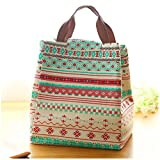 Efanr Cute Pattern Women Reusable Lunch Bag Waterproof Canvas Handbag Portable Insulation Carry Bag for Travel and Picnic (Floral) offers