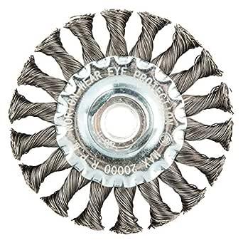 0.020 Wire Dia Arbor Hole Mounting Norton 6-7//8 Twisted Wire Wheel Brush 1-1//8 Bristle Trim Length,