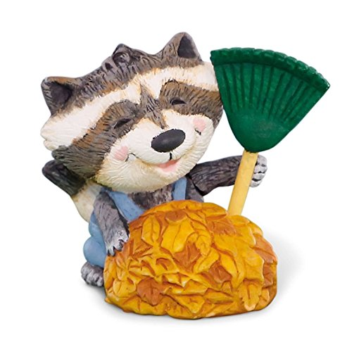 Hallmark Merry Miniatures Fall Leaves Raccoon Figurine