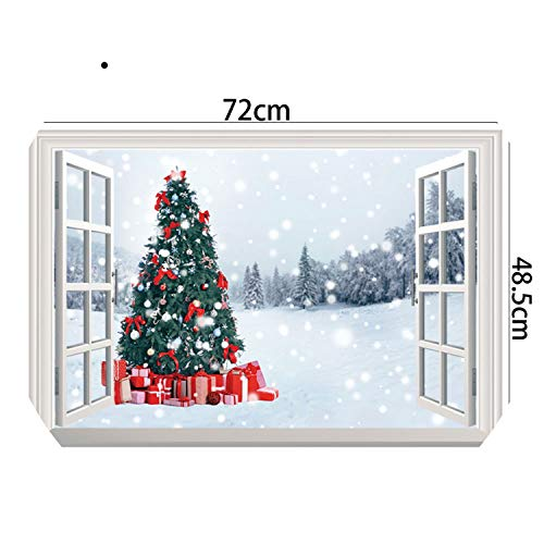 Christmas 3D Wall Stickers Window View Santa Claus Home Decor Christmas Tree Home Decoration Accessories 11 Kinds,2