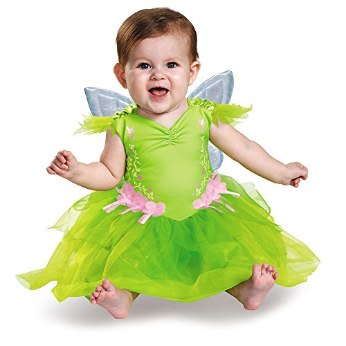 Disguise Baby Girls' Tinker Bell Deluxe Infant Costume, Green, 6-12 -