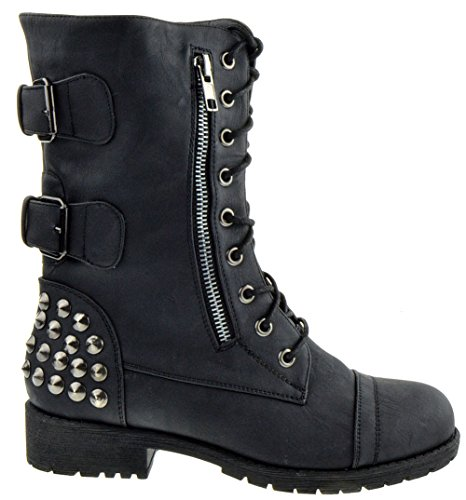 Shoe Dezigns Rider 83 Womens Military Lace up Studded Combat Boot