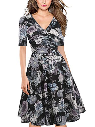 - oxiuly Women's Chic Criss-Cross V-Neck Half Sleeve Floral Casual Work Party Tea Swing Midi Dress OX233 (XL, Bk-Gray F5)