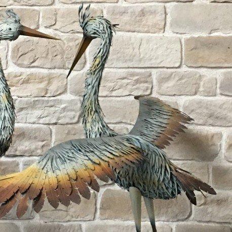 Statue Sculpture H/éron Oiseau Couple de H/érons en Fer Oiseaux de Jardin 185 cm
