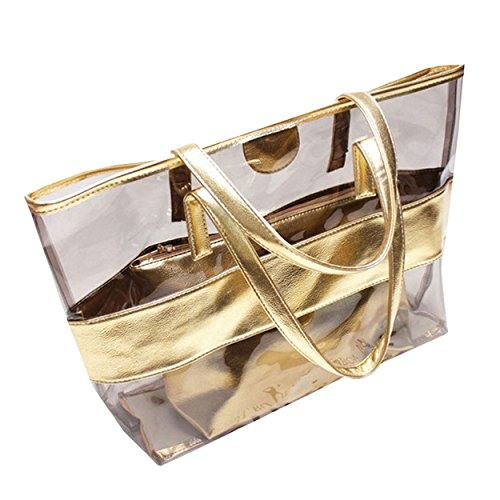 Women Casual Handbag Gold Waterproof Transparent M Bag Beach amp;A F5Pqaaw1