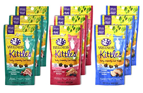 Wellness Kittles Cat Treat Variety Pack - 3 Flavors (Chicken & Cranberries, Salmon & Cranberries, and Tuna & Cranberries Flavors) - 2 oz Each (9 Total Pouches) by Wellness Natural Pet Food