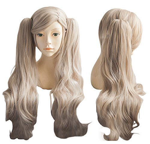 (Cfalaicos Grey Apricot Cosplay Wig + 2 Clip on Ponytails with Free Wig)