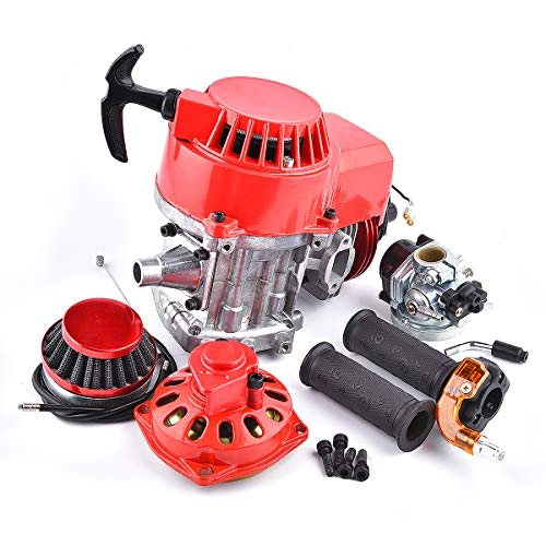 (DIY Engine 49cc 52cc + Handle Bar + Throttle Cable + Air Filter Big Bore Pocket Bike Engine with Performance Cylinder CNC Engine Cover Racing Carburetor)