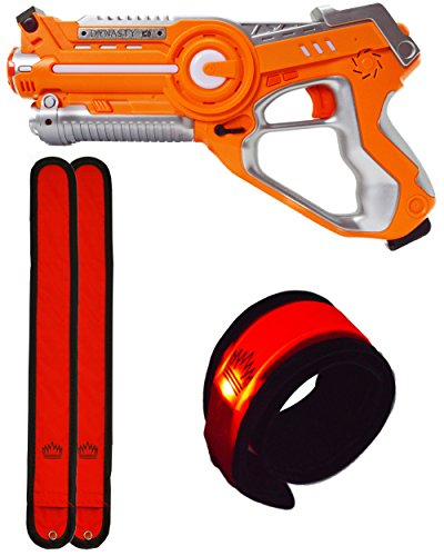 DYNASTY TOYS Outdoor Games for Kids Laser Tag Blaster Toy for Camping W/Glow in The Dark Wristband (Orange)
