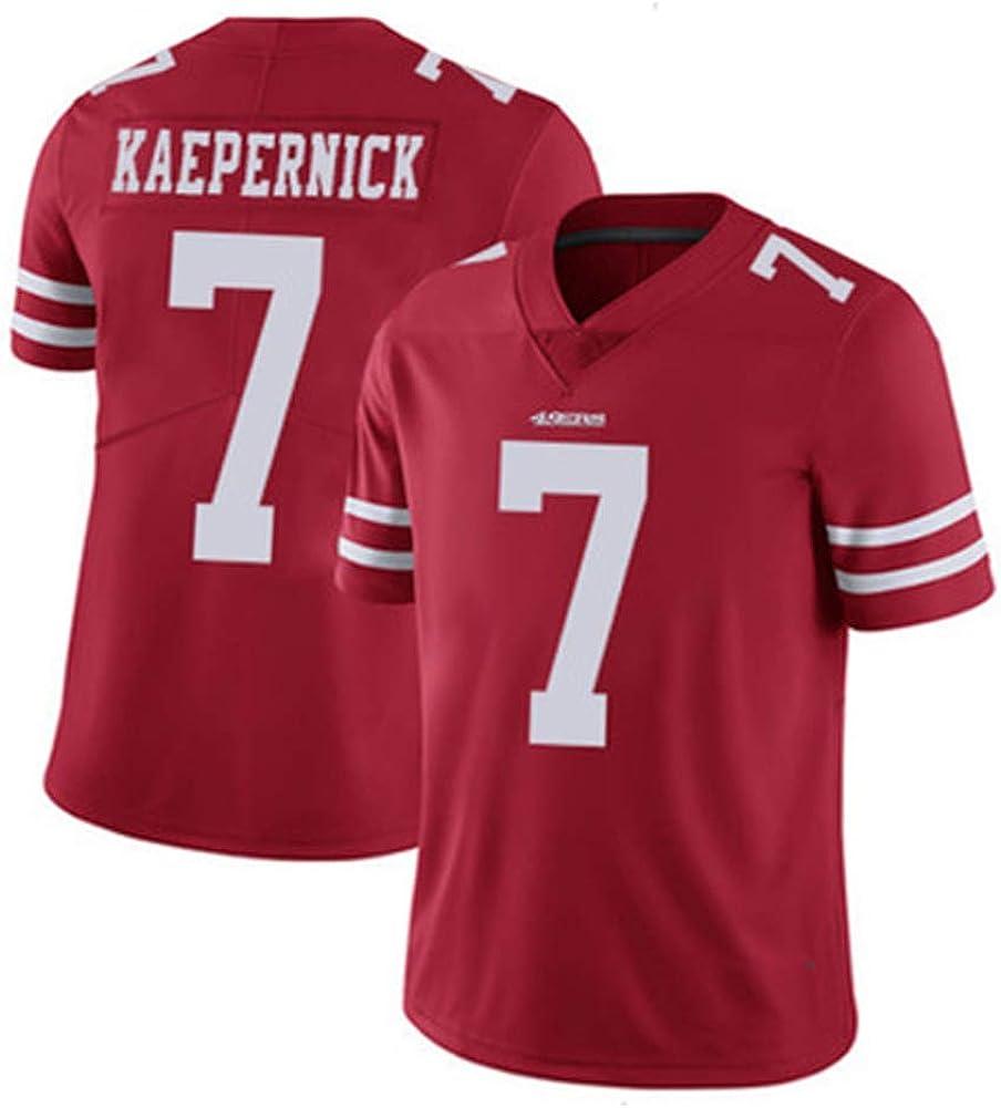 QAZX #7 Kaepernick 49ers Herren Rugby Trikot Trainingsshirt T-Shirts Mesh Schnelltrocknend Kurzarm Fitness Polyester Faser Sweatshirt S-XXXL