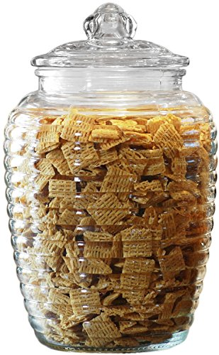 Circleware Ribbed Glass Food Canister Jar With Glass Lid, 76 Ounce