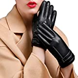 Deacroy Unisex's Leather Gloves Touchscreen Texting Driving Winter Cashmere Gloves, Black2, TagsizeM=USsizeM