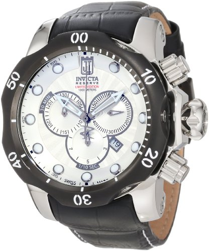 Dial Black Chronograph Mop - Jason Taylor for Invicta Collection 12962 Venom Chronograph Silver Mother-Of-Pearl Textured Dial Black Leather Watch