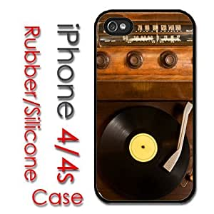 iPhone 4 4S Rubber Silicone Case - Old School Vintage Record Player Vinyl Radio